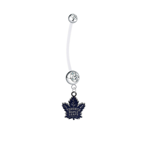 Toronto Maple Leafs Pregnancy Maternity Clear Belly Button Navel Ring - Pick Your Color