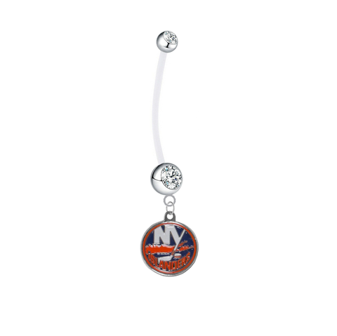 New York Islanders Pregnancy Maternity Clear Belly Button Navel Ring - Pick Your Color