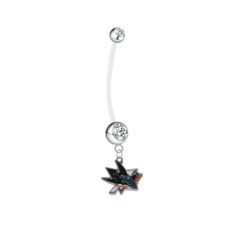 San Jose Sharks Pregnancy Maternity Clear Belly Button Navel Ring - Pick Your Color
