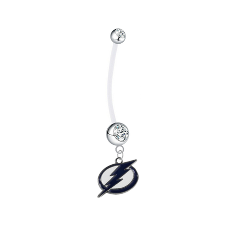 Tampa Bay Lightning Pregnancy Maternity Clear Belly Button Navel Ring - Pick Your Color