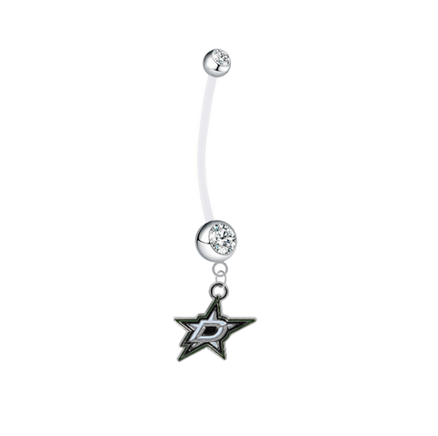 Dallas Stars Pregnancy Maternity Clear Belly Button Navel Ring - Pick Your Color