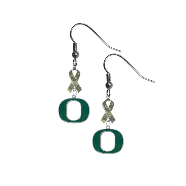 Oregon Ducks Salute to Service Camouflage Camo Ribbon Dangle Earrings