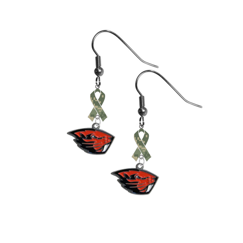 Oregon State Beavers Salute to Service Camouflage Camo Ribbon Dangle Earrings