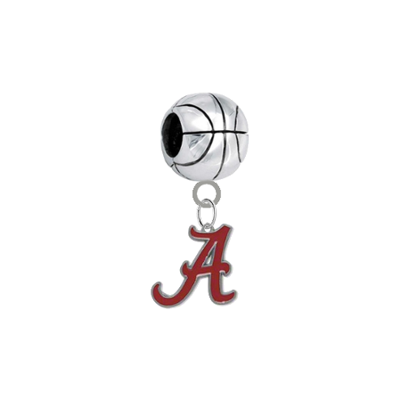 Alabama Crimson Tide Basketball European Bracelet Charm (Pandora Compatible)
