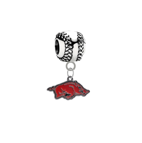 Arkansas Razorbacks Baseball European Bracelet Charm (Pandora Compatible)