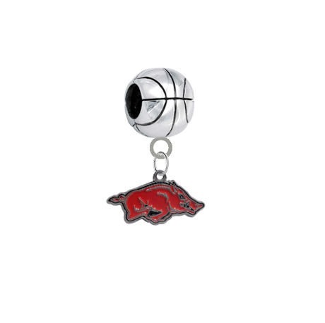 Arkansas Razorbacks Basketball European Bracelet Charm (Pandora Compatible)