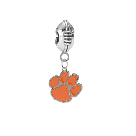 Clemson Tigers Football European Bracelet Charm (Pandora Compatible)