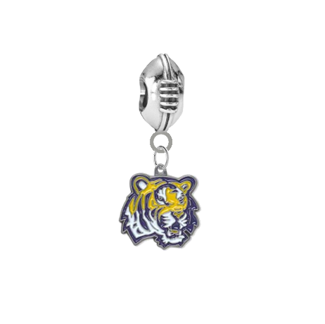 LSU Tigers Football European Bracelet Charm (Pandora Compatible)