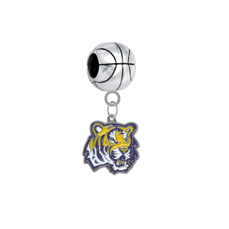 LSU Tigers Basketball European Bracelet Charm (Pandora Compatible)