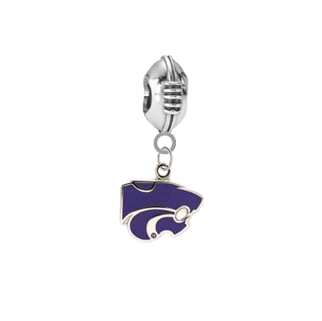 Kansas State Wildcats Football European Bracelet Charm (Pandora Compatible)