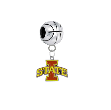 Iowa State Cyclones Basketball European Bracelet Charm (Pandora Compatible)