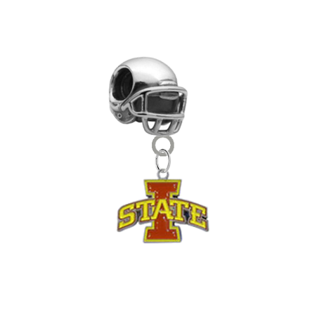 Iowa State Cyclones Football Helmet European Bracelet Charm (Pandora Compatible)