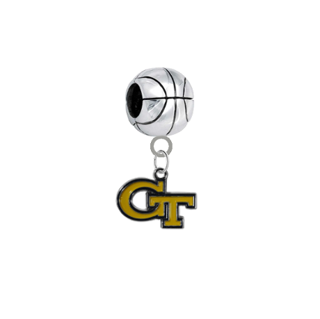 Georgia Tech Yellow Jackets Basketball European Bracelet Charm (Pandora Compatible)