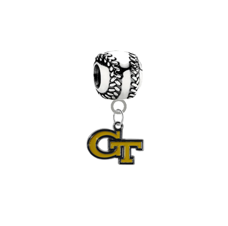 Georgia Tech Yellow Jackets Baseball European Bracelet Charm (Pandora Compatible)