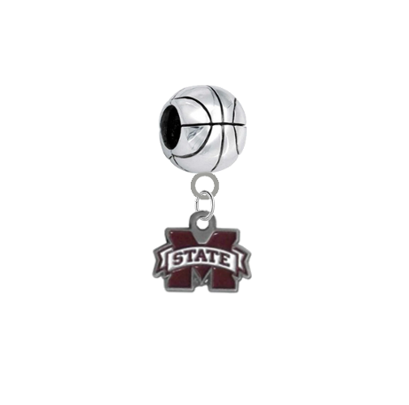 Mississippi State Bulldogs Basketball European Bracelet Charm (Pandora Compatible)