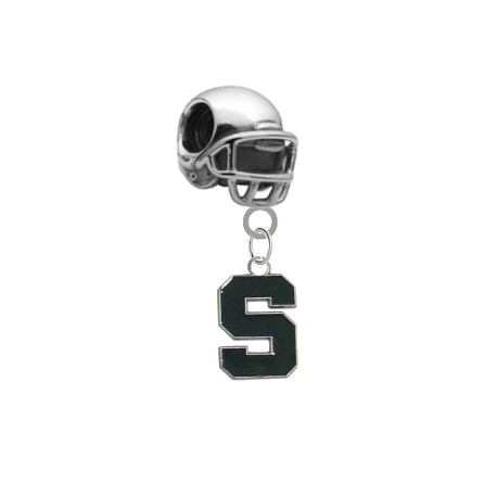 Michigan State Spartans Football Helmet Universal European Bracelet Charm