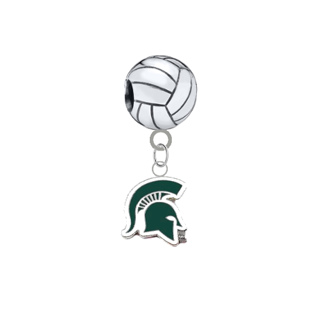 Michigan State Spartans Mascot Volleyball Universal European Bracelet Charm