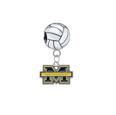 Michigan Wolverines Volleyball Universal European Bracelet Charm