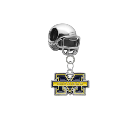 Michigan Wolverines Football Helmet Universal European Bracelet Charm