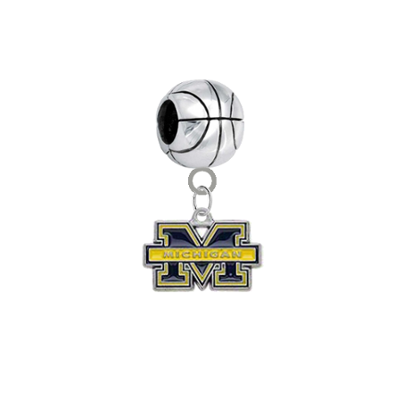 Michigan Wolverines Basketball Universal European Bracelet Charm