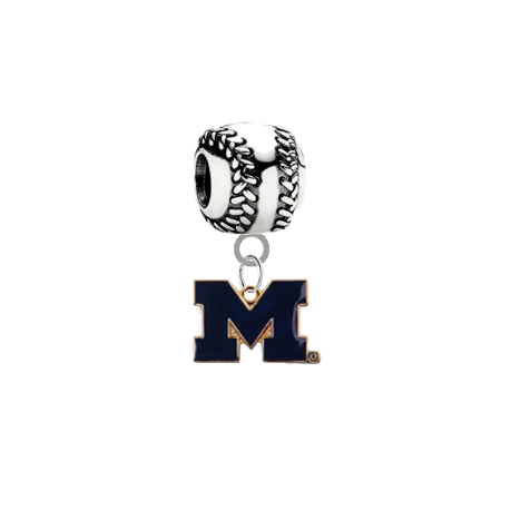 Michigan Wolverines Style 2 Softball Universal European Bracelet Charm