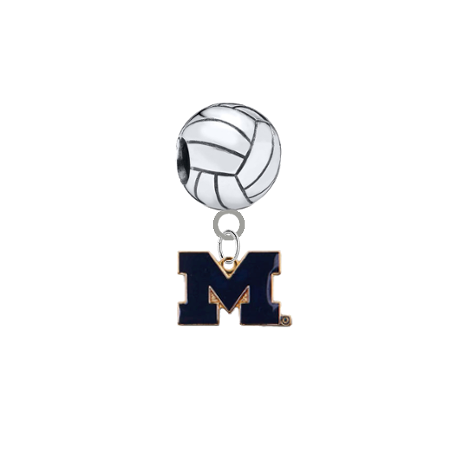 Michigan Wolverines Style 2 Volleyball Universal European Bracelet Charm