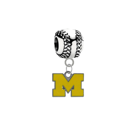 Michigan Wolverines Style 3 Softball Universal European Bracelet Charm