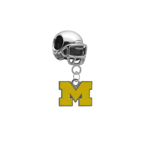 Michigan Wolverines Style 3 Football Helmet Universal European Bracelet Charm