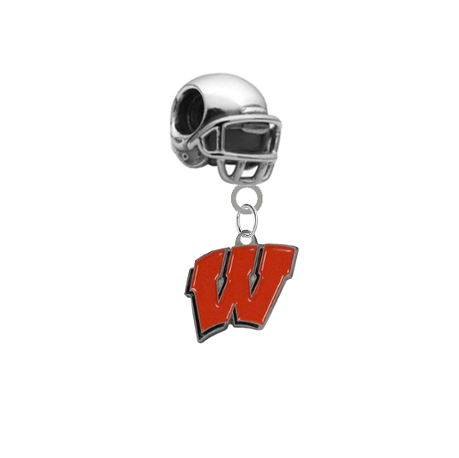 Wisconsin Badgers Football Helmet Universal European Bracelet Charm