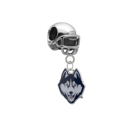 UConn Connecticut Huskies Football Helmet Universal European Bracelet Charm