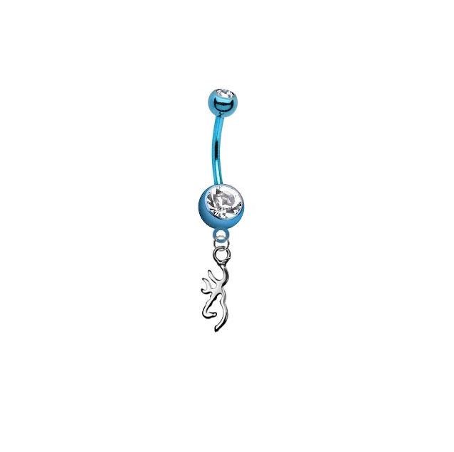 Browning Buckmark Light Blue Titanium Anodized Belly Button Navel Ring