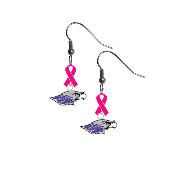 Wisconsin Whitewater Warhawks Breast Cancer Awareness Hot Pink Ribbon Dangle Earrings