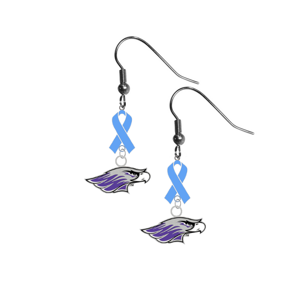 Wisconsin Whitewater Warhawks Prostate Cancer Awareness Light Blue Ribbon Dangle Earrings