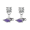 Wisconsin Whitewater Warhawks CLEAR Swarovski Crystal Stud Rhinestone Earrings