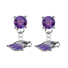 Wisconsin Whitewater Warhawks PURPLE Swarovski Crystal Stud Rhinestone Earrings