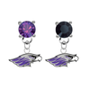 Wisconsin Whitewater Warhawks PURPLE & BLACK Swarovski Crystal Stud Rhinestone Earrings
