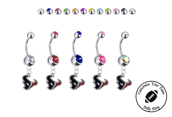 Houston Texans Silver Swarovski Belly Button Navel Ring - Customize Gem Colors