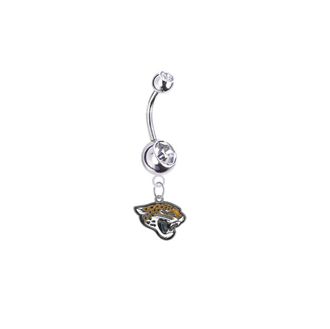 Jacksonville Jaguars Silver Clear Swarovski Belly Button Navel Ring - Customize Gem Colors