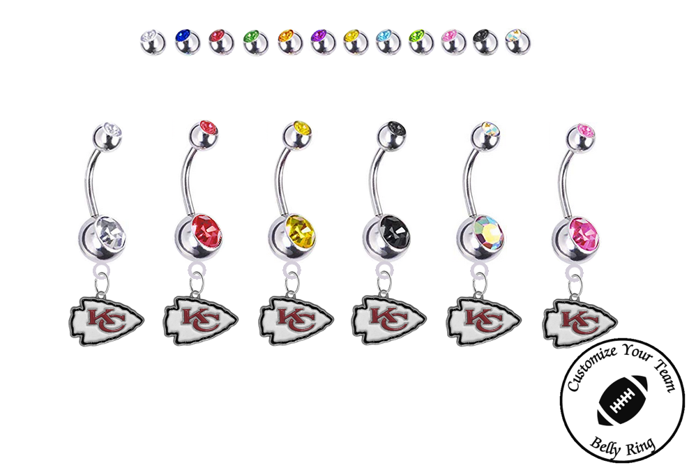 Kansas City Chiefs Silver Swarovski Belly Button Navel Ring - Customize Gem Colors