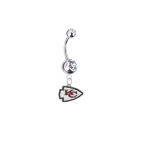 Kansas City Chiefs Silver Clear Swarovski Belly Button Navel Ring - Customize Gem Colors