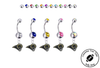 Los Angeles Rams Silver Swarovski Belly Button Navel Ring - Customize Gem Colors