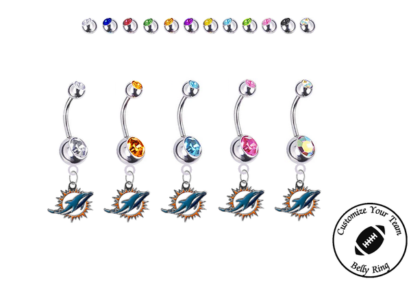Miami Dolphins Silver Swarovski Belly Button Navel Ring - Customize Gem Colors