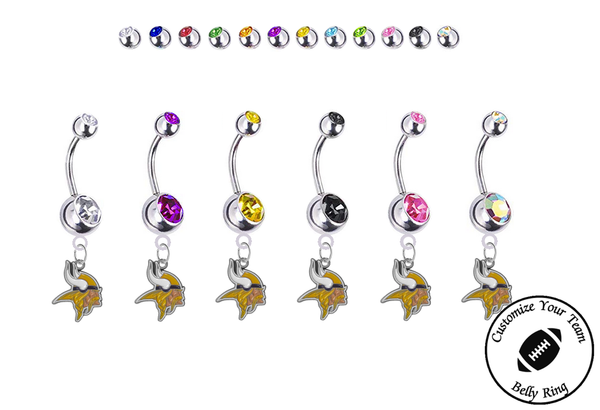 Minnesota Vikings Silver Swarovski Belly Button Navel Ring - Customize Gem Colors