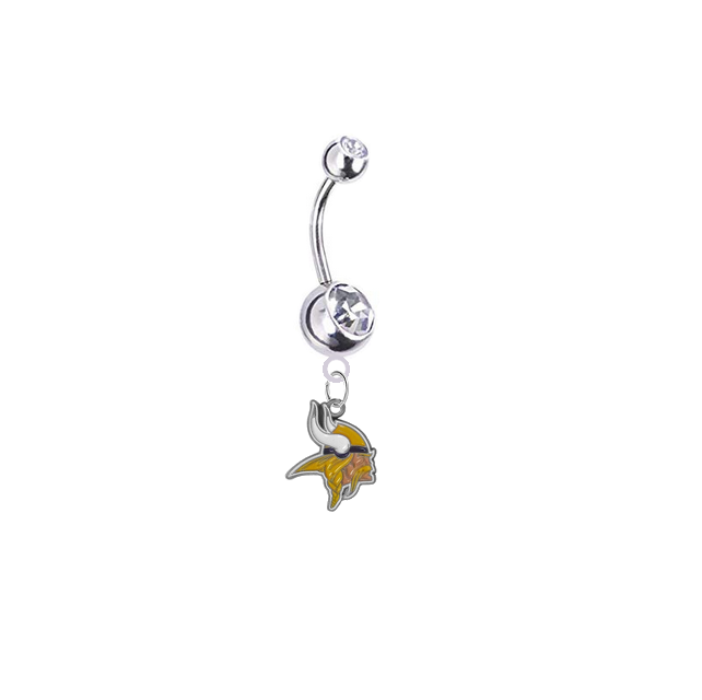 Minnesota Vikings Silver Clear Swarovski Belly Button Navel Ring - Customize Gem Colors