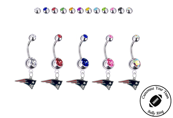 New England Patriots Silver Swarovski Belly Button Navel Ring - Customize Gem Colors
