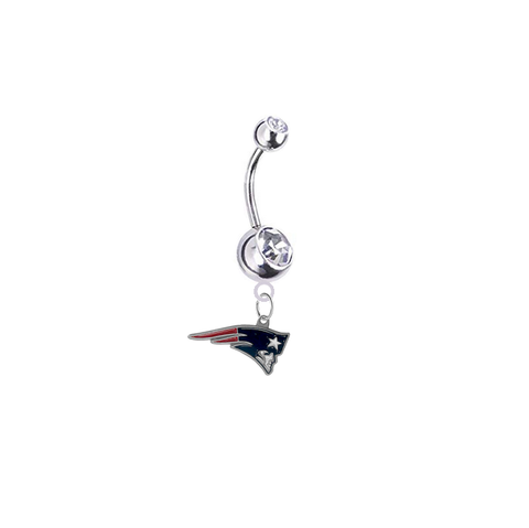New England Patriots Silver Clear Swarovski Belly Button Navel Ring - Customize Gem Colors