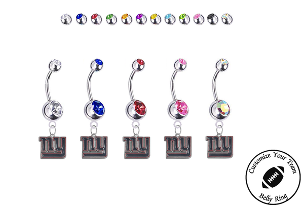 New York Giants Silver Swarovski Belly Button Navel Ring - Customize Gem Colors