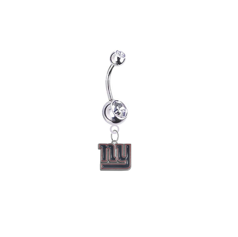 New York Giants Silver Swarovski Clear Belly Button Navel Ring - Customize Gem Colors