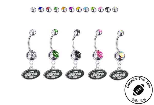 New York Jets Silver Swarovski Belly Button Navel Ring - Customize Gem Colors