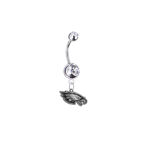 Philadelphia Eagles Silver Clear Swarovski Belly Button Navel Ring - Customize Gem Colors